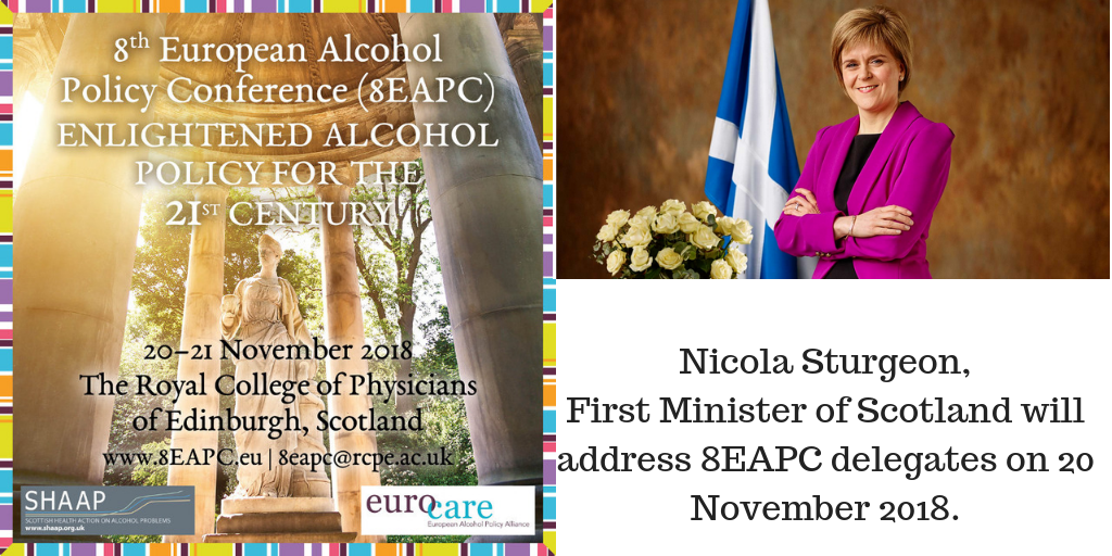 Nicola Sturgeon, First Minister of Scotland, will address 8EAPC delegates on 20 November 2018